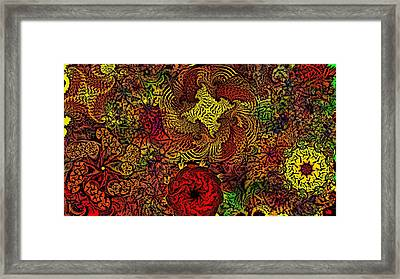Fantasy Flowers Woodcut Framed Print by David Lane