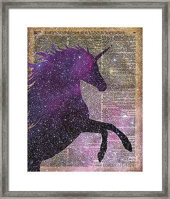 Fantasy Unicorn In The Space Framed Print by Jacob Kuch