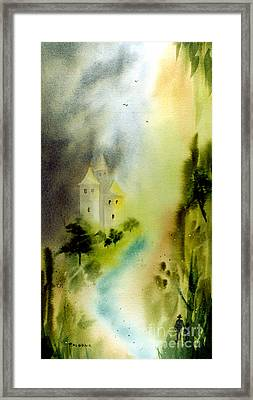 Far Pavilions A Romantic Watercolor Of A Castle By A River Framed Print by Phil Albone