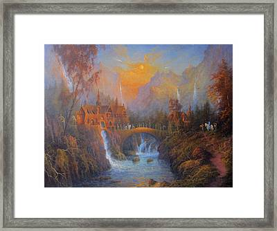Farewell To Rivendell The Passing Of The Elves Framed Print by Joe  Gilronan