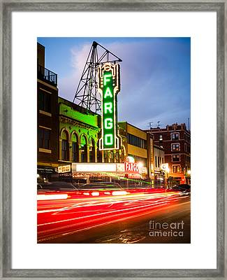 Fargo Theatre And Downtown Buidlings At Night Framed Print by Paul Velgos
