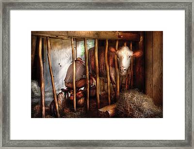 Farm - Cow - Milking Mabel Framed Print by Mike Savad