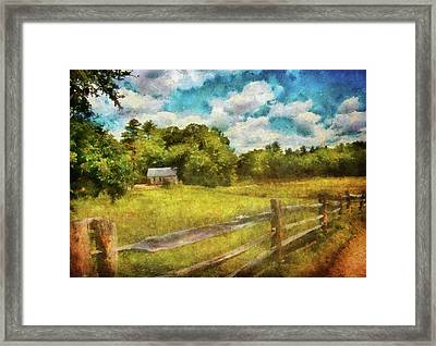 Farm - Fence - It's So Peaceful In The Country Framed Print by Mike Savad