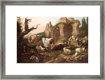 Farm Animals In A Landscape Framed Print by Johann Heinrich Roos