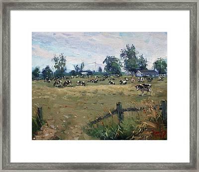 Farm In Terra Cotta On Framed Print by Ylli Haruni