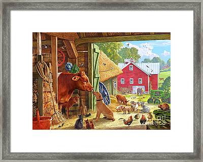 Farm Scene In America Framed Print by Steve Crisp
