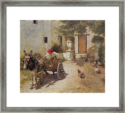 Farm Yard Scene Framed Print by Henry Herbert La Thangue