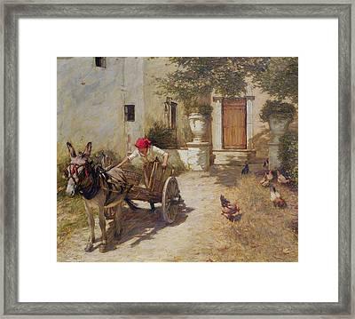 Farm Yard Scene Framed Print by Henry Herbert La Thangue