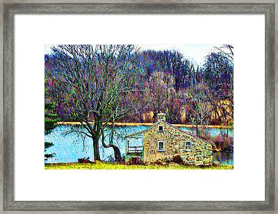 Farmhouse By The Lake Framed Print by Bill Cannon