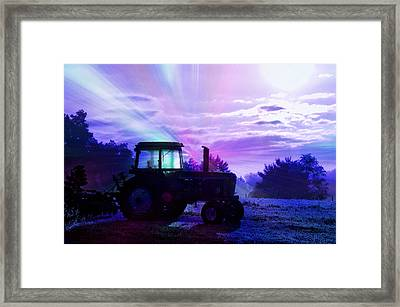 Farming Frost On The John Deere Framed Print by Thomas Woolworth