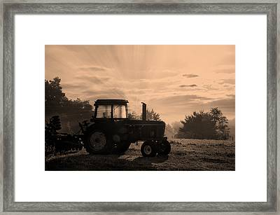 Farming Good Morning John Deere Sepia Framed Print by Thomas Woolworth