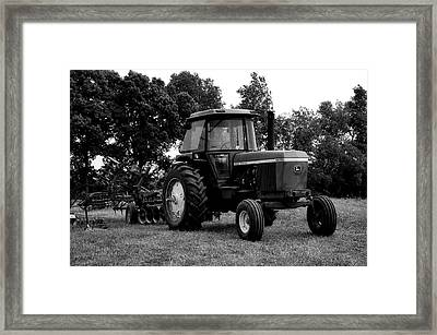 Farming John Deere 4430 Bw Framed Print by Thomas Woolworth