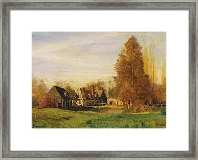 Farmyard Framed Print by Francois Louis Francais