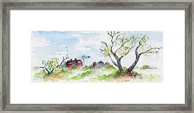 Farmyard From Afar Framed Print by Pat Katz