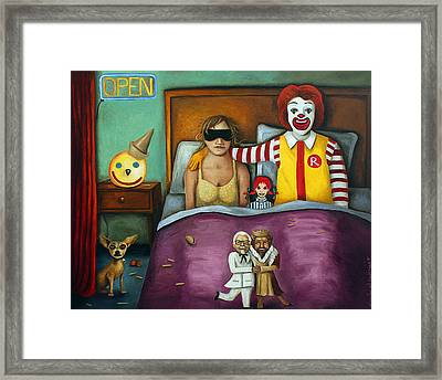 Fast Food Nightmare 2 Different Tones Framed Print by Leah Saulnier The Painting Maniac