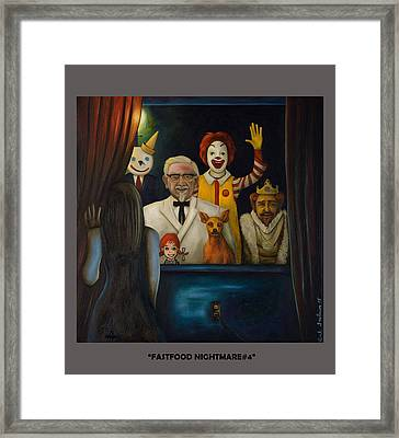 Fast Food Nightmare 4 With Lettering Framed Print by Leah Saulnier The Painting Maniac