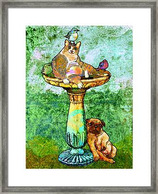 Fat Cat And Pug Framed Print by Mary Ogle