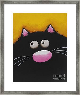 Fat Cat In Yellow Framed Print by Lucia Stewart