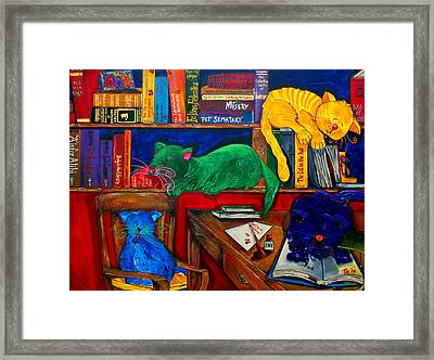 Fat Cats In The Library Framed Print by Patti Schermerhorn