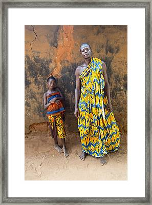 Father And Daughter In Akato Viepe Village Togo Framed Print by David Smith