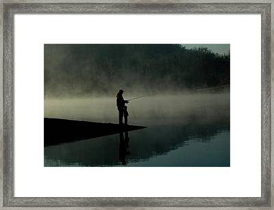 Father And Son Fishing Framed Print by Shawn Wood