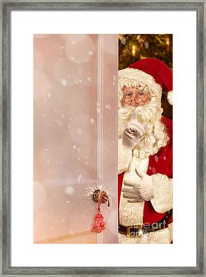 Father Christmas At The Door Framed Print by Amanda Elwell