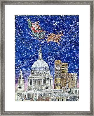 Father Christmas Flying Over London Framed Print by Catherine Bradbury
