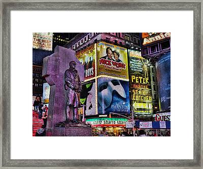 Father Duffy Watching Over Times Square Framed Print by Lee Dos Santos