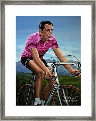 Fausto Coppi Painting Framed Print by Paul Meijering