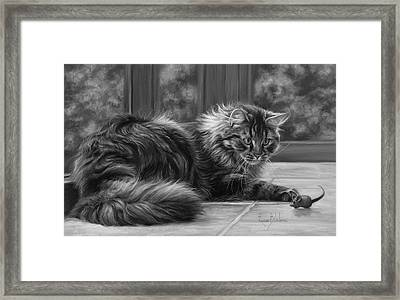 Favorite Toy - Black And White Framed Print by Lucie Bilodeau