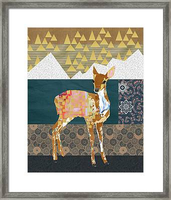 Fawn Collage Framed Print by Claudia Schoen