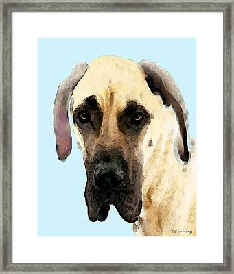 Fawn Great Dane Dog Art Painting Framed Print by Sharon Cummings