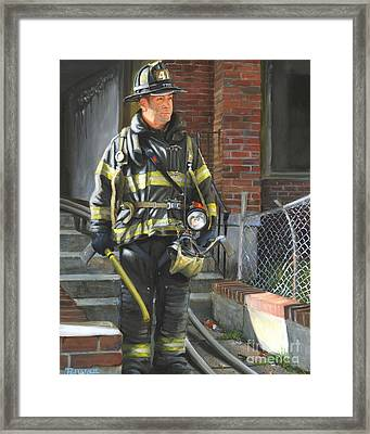 Fdny Squad 41 Firefighter Framed Print by Paul Walsh