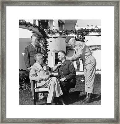 Fdr Presenting Medal Of Honor To William Wilbur Framed Print by War Is Hell Store