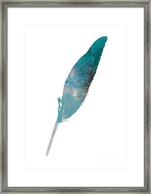 Feather Silhouette Blue Poster Framed Print by Joanna Szmerdt