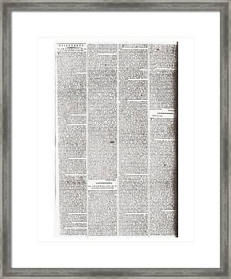 Federalist Paper 50. Written By James Framed Print by Everett