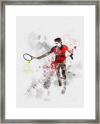 Federer Framed Print by Rebecca Jenkins