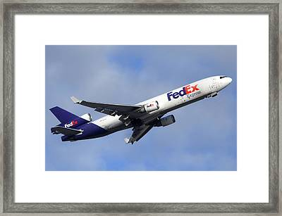 Fedex Mcdonnell-douglas Md-11f N605fe Phoenix Sky Harbor December 23 2010 Framed Print by Brian Lockett