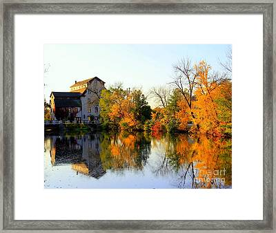 Feed Mill Fall Glow Framed Print by Carol Komassa