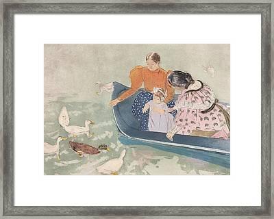 Feeding The Ducks Framed Print by Mary Stevenson Cassatt