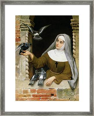 Feeding The Pigeons Framed Print by Eugen von Blaas