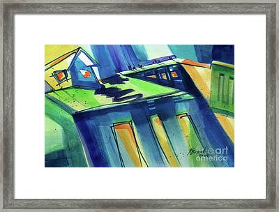 Feedmill In Blue And Green Framed Print by Kathy Braud