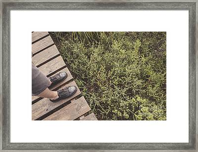 Feet Of A Man Mountaineering On A Rainforest Track Framed Print by Jorgo Photography - Wall Art Gallery