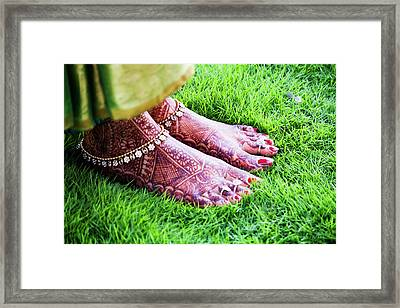 Feet With Mehndi On Grass Framed Print by Athul Krishnan (www.athul.in)