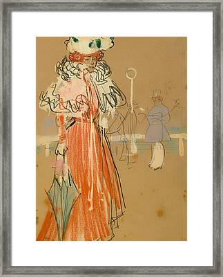 Female Figure In Red Framed Print by Mountain Dreams