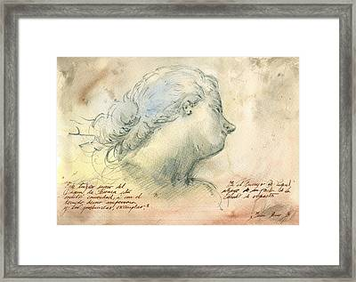 Female Head Study Framed Print by Juan Bosco
