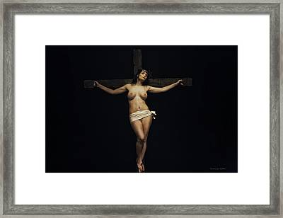 Female Jesus Framed Print by Ramon Martinez