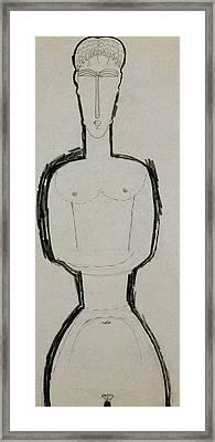 Female Nude Framed Print by Amedeo Modigliani
