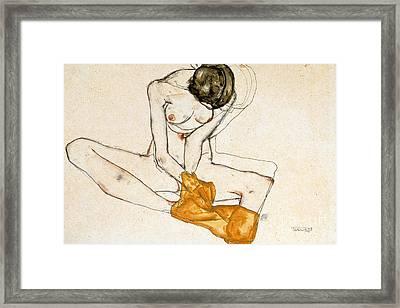 Female Nude Framed Print by Egon Schiele