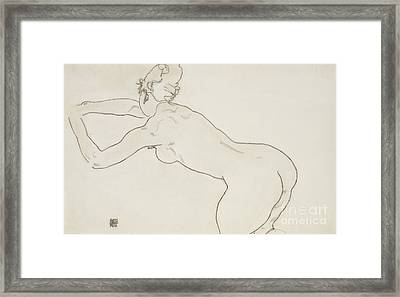 Female Nude Kneeling And Bending Forward To The Left Framed Print by Egon Schiele